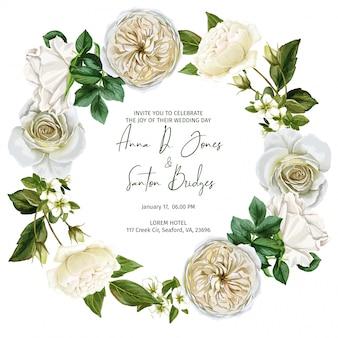 Акварельная рамка венок из белых роз и листьев