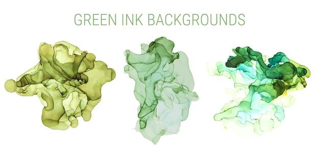 緑の色合いのインクの背景、ウェットインク、手描き