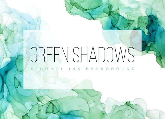 緑の色合いの水彩背景、ぬれた液体、手描きの背景水彩テクスチャ