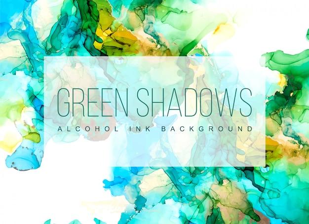 緑、青、金の色合いの水彩背景、ぬれた液体、手描きの背景水彩テクスチャ