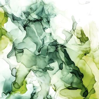 不機嫌そうな緑の色合いの水彩背景、ぬれた液体、手描きの背景水彩テクスチャ