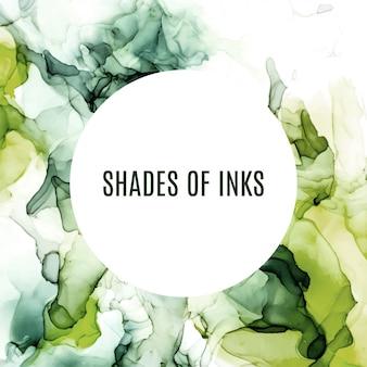 丸いバナー、緑の色合いの水彩背景、ぬれた液体、手描きの背景水彩テクスチャ