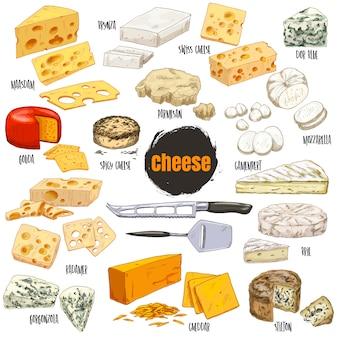 さまざまな種類のチーズ、色手描きイラストのセット