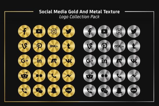 ソーシャルメディアの金と金属のテクスチャロゴコレクションパック