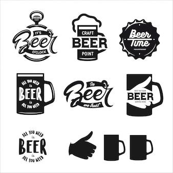 ビール関連のタイポグラフィセット。ベクトルビンテージレタリング。