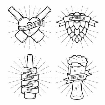 ビールクリップアートイラストのセット。