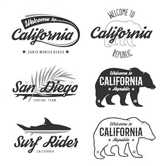 Старинные монохромные калифорнийские значки.