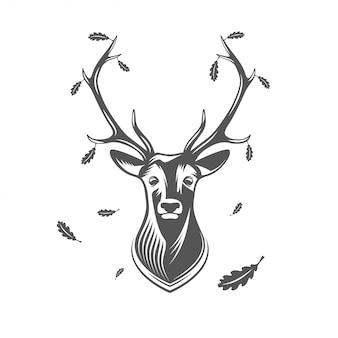 Вектор голова оленя с дубовыми листьями.
