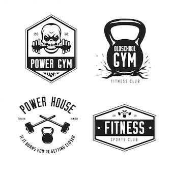 Фитнес-зал спортивный клуб логотип набор.