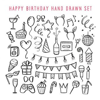 お誕生日おめでとう手描きセット。ベクトルビンテージイラスト。