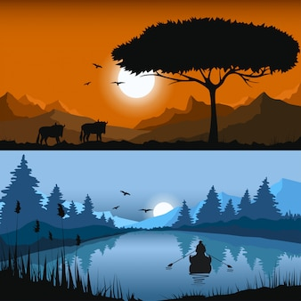 Векторная иллюстрация пейзажи