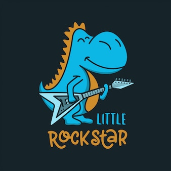 Маленький рок-звезда дизайн детской одежды. векторная иллюстрация винтаж.