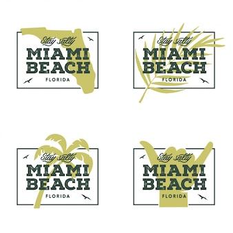 フロリダ州マイアミビーチ。ベクトルビンテージイラスト。