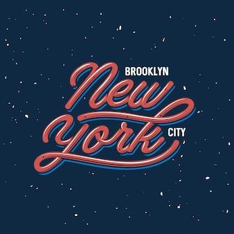 Старинный дизайн надписи. нью-йорк текст города. векторная иллюстрация