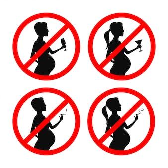 妊娠中の喫煙と飲酒の兆候はありません。ベクトルビンテージイラスト。