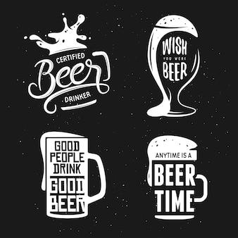 ビール関連のタイポグラフィセット。ベクトルビンテージレタリングイラスト。