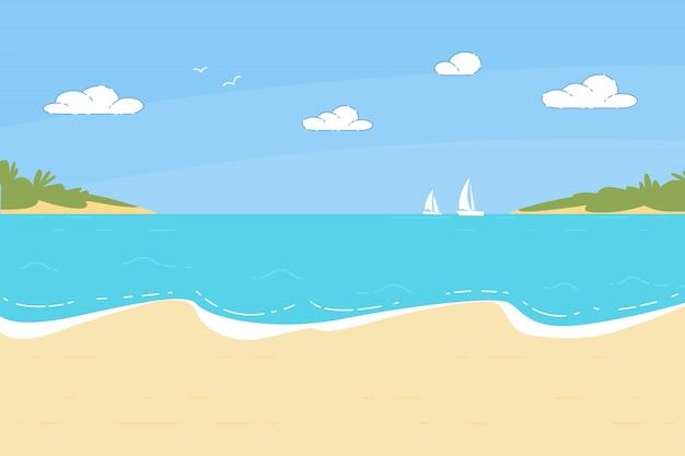 Летнее время песчаный пляж фон с морской пейзаж