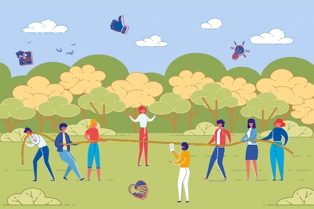 Деловые люди в команде обучения на открытом воздухе.