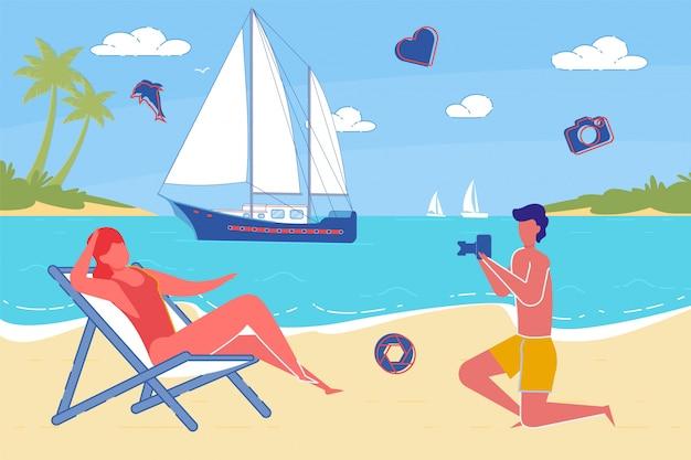 Лето влюбленной пары в отпуске на берегу океана
