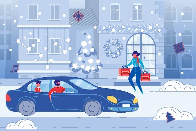Семейные покупки, рождественские праздничные хлопоты. плоская иллюстрация.