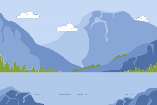 池、夏の時間の自然と山の風景