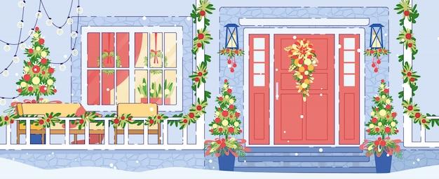 Дом экстерьера рождественские украшения плоский вектор