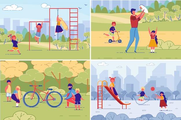 家族と子供のスポーツ、トレーニング、余暇。