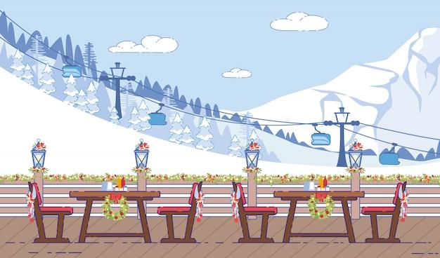 スキーリゾートカフェクリスマス装飾フラットベクトル