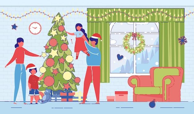 クリスマスやクリスマスツリーの周りの新年の家族。
