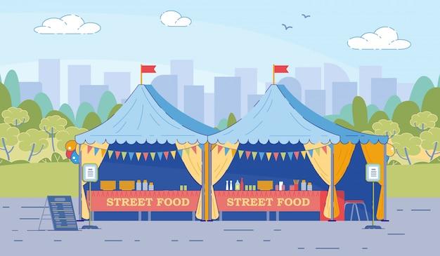 Палатки уличной еды со стульями в плоском стиле