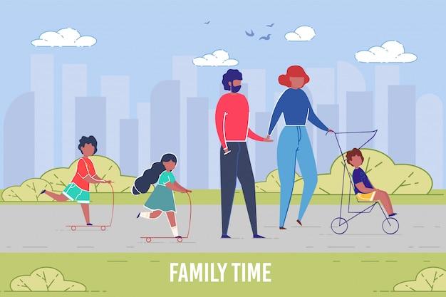 Время отдыха семьи и единения в плоском стиле
