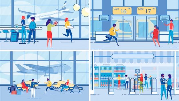 空港ターミナルと乗客または旅行者セット。