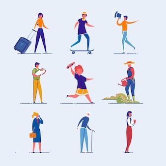 Набор символов различных профессии и возраст людей.