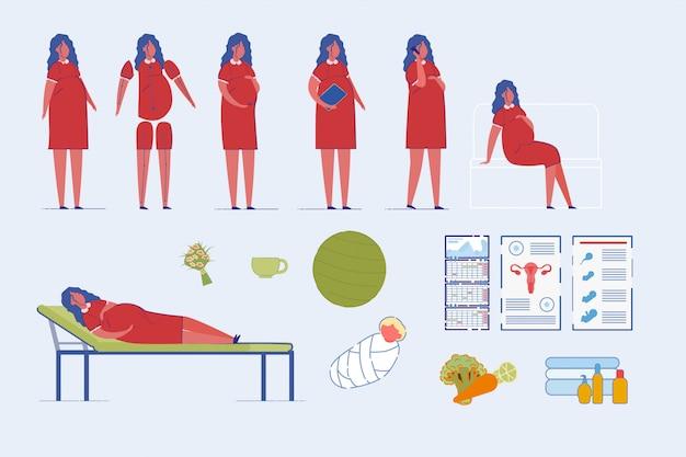アクションセットの妊娠中の女性の漫画のキャラクター。