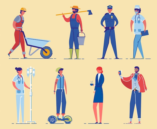 Набор символов профессиональных занятий.