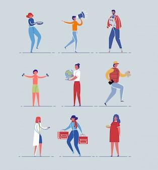 Разнообразные занятия персонажей