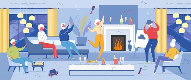 Старшие люди свободное время с танцами и весельем.