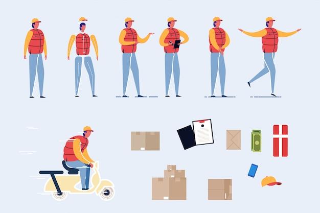Человек доставки персонаж с скутер, набор посылок.