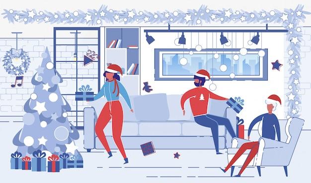 自宅でクリスマスを祝っている同僚
