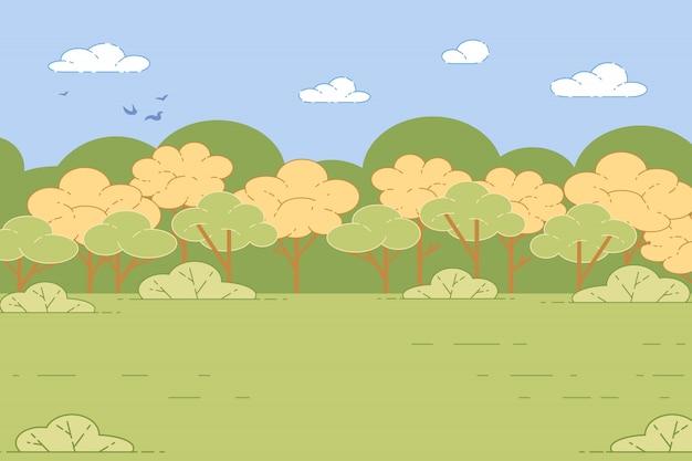 Зеленая долина с травой и деревьями природа пейзаж