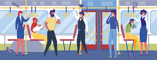 Люди, использующие защитные медицинские маски в общественном транспорте