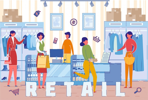 Покупатели в магазине розничной торговли одеждой