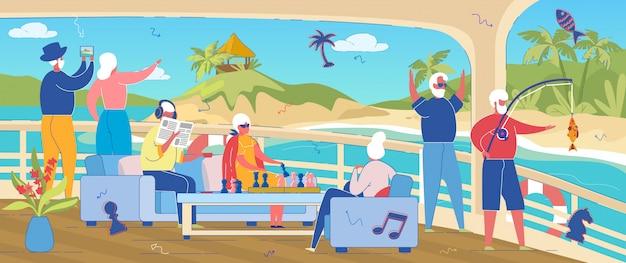 高齢者の海での休暇やヨットの週末。