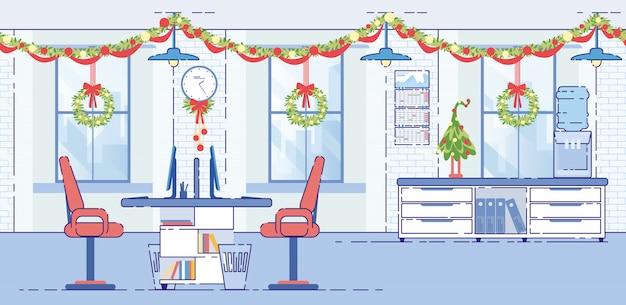 Офис украшенные рождественские гирлянды