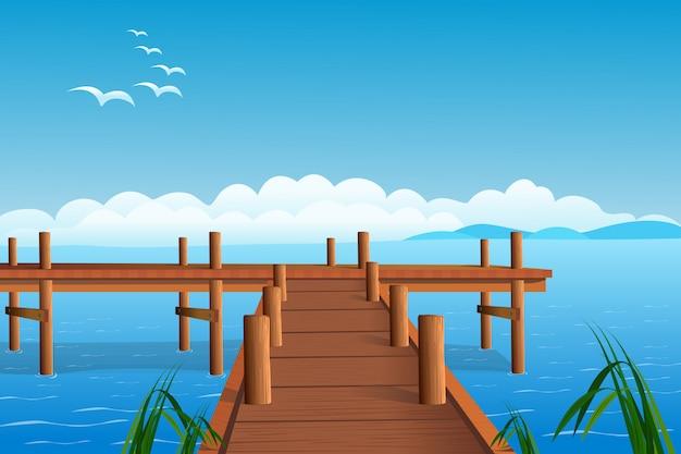 Рыбалка пирс на берегу океана иллюстрация