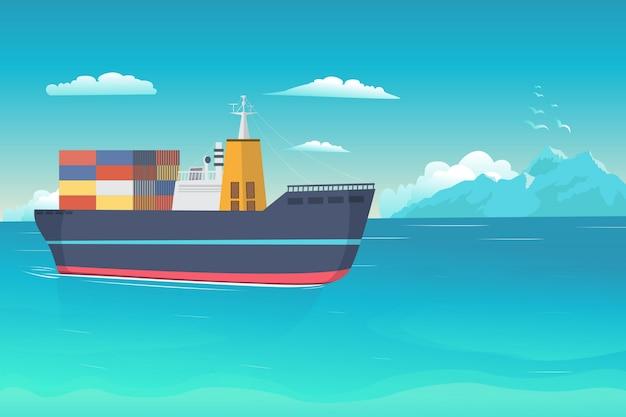 Иллюстрация корабль на океане