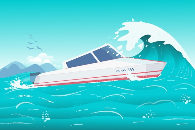 Скоростной катер на берегу океана