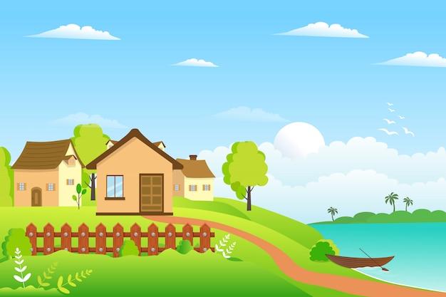 夏の村の風景イラストデザイン