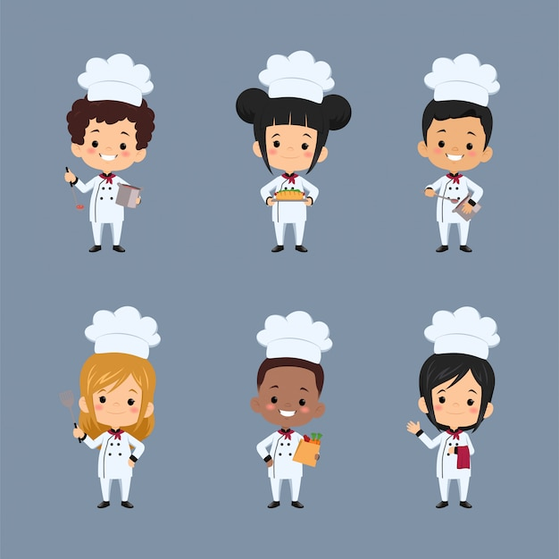 食品の準備エプロンを使用して子供シェフの漫画のキャラクターのセット