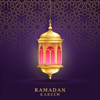 イスラムのパターンとランタンとソーシャルメディア投稿テンプレートのラマダンカリーム背景。